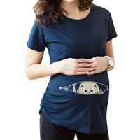 Pregnant Women T-shirts Maternity clothes Slim Cartoon Nursing Top Letters O-Neck Pregnancy long Tee shirts ropa embarazada Y3