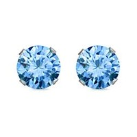 4mm Sterling Silver Round CZ Stud Earrings - Light Blue Aquamarine
