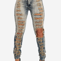 Acid Wash High Waist Distressed Skinny Jeans