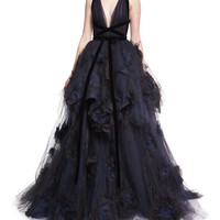 Marchesa Pleated Tulle V-Neck Ball Gown