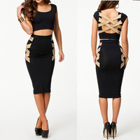 Bodycon Fashion Beige & Black Corset Back Style Knee Length Bandage Dress