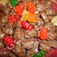 12 different flavors Milk chocolate covered gummy bears (1lb) Fat free, Gluten free