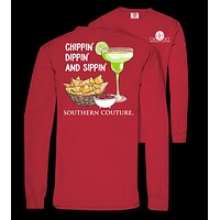 Southern Couture Chippin Dippin Sippin Comfort Colors Long Sleeve T-Shirt