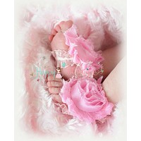 Baby Barefoot Sandals/ Pink Shabby Ruffle Baby Barefoot Sandals