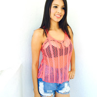 Alea Bathing Suit Cover Up- Coral