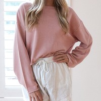 Pink Long Sleeve Cropped Sweatshirt