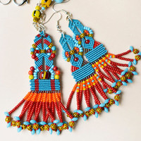 Tribal set of a necklace and earrings, tassel necklace, fringe necklace, macrame necklace, ethnic jewelry, unique gift idea, boho chic, OOAK