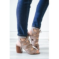 Tied Up Booties - Taupe