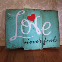Love Never Fails Reclaimed Wooden Plank Distressed Wood Sign Wall Decor