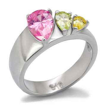 3 Stone Multi Color Ring High polished Stainless Steel