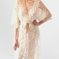 Kiss Long Embroidered Sheer Tulle Robe w/Charmeuse Trim (Nightgown available)(XS-Large)