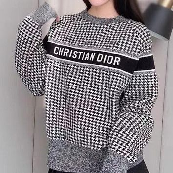 Dior CD new classic black and white houndstooth letter jacquard loose sweater