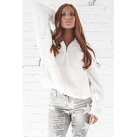 Wanderlust White Half Zip Up Sherpa