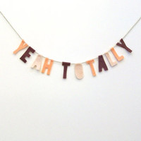 Yeah Totally 90s felt party banner, room banner in maroon, dreamsicle & light pink