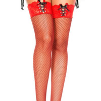 Double Weave Thigh High with Lace Up Top