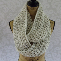 Ready To Ship Infinity Scarf Crochet Thick Ivory Tweed Black Brown Women's Accessories Eternity Fall Winter