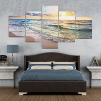5PCS Sunrise Canvas Painting Unframed Landscape Huge Modern Wall Art Home Decor