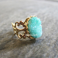 Mint Green Druzy Ring Gold Geode Gemstone Drusy Mineral Rustic Statement Aquamarine Teal Turquoise Crystal Raw Quartz Agate Ring Gem Stone