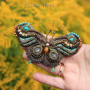 Turquoise butterfly. Beaded embroidered butterfly brooch. Bead Embroidery Art.