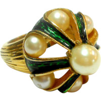 Signed Trifari L'Orient Imitation Pearl w/ Green Enamel Ring c. 60