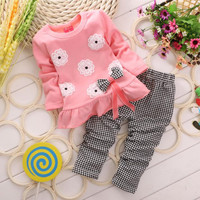2016 Girls clothes Baby Girl Clothing Set Children Flower Bow Cute Suit 2PCS Kids Twinset Top T Shirt +Plaid Pants Leggings