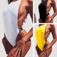 Fashion Women Pure Color Insert Buckle One Piece Bikini Swimwear Bathing(3-Color) Yellow