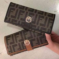 FENDI letter print stitching color clamshell wallet long clutch Bag