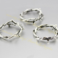 10 PCS - Crown of Thorns, Thorn Ring, Twig Ring, Branch Ring, Antique Silver, Bronze, Fittings, Accessories, Supplies, Jewelry Making, 23mm