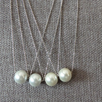 Single Pearl Necklace,Simple and Elegant Pearl Bridesmaid Jewelry Gifts - Bridesmaid Jewelry Necklace  wedding party