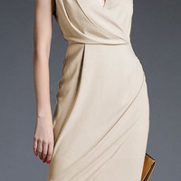 Beige V-Neck Sleeveless Dress