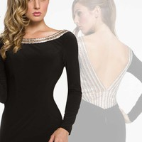 Milano Formals Sleeved Black Evening Gown E1859