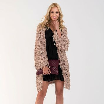Beige Chunky Chenille Loose Tie Cardigan