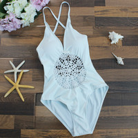 Women One Piece Crochet Knitting Bikini Set Summer Swimsuit Beach Bathing Suits