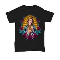 Our Lady of Guadelupe Black Graphic Design Shirt