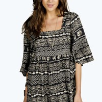 Molly Elephant Print Batwing Smock Dress