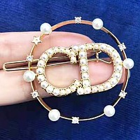 DIOR Fashion New Diamond More Pearl Letter Personality Accessories Hair Clip