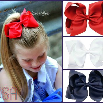 Girls 4th of July Hair Bows, Red, White and Blue Hair Bow Set, Set of 3 Girls Patriotic Hair Bows