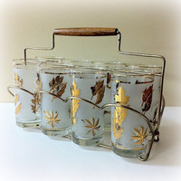 Mid Century Tumblers Gold Leaf Libbey in by vintage19something