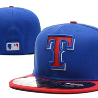 hcxx Texas Rangers New Era 59FIFTY MLB Hat Blue-Red