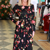 Oh So Floral Print Pleated Dress With Pockets ~ Black ~ Sizes 4-10