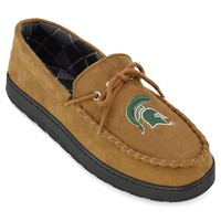 Michigan State Spartans Microsuede Moccasins - Men's Wide-Width (Brown)