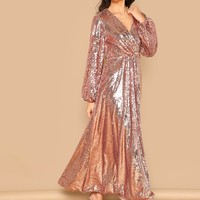 Lilly Lantern Sleeve Surplice Wrap Sequin Dress