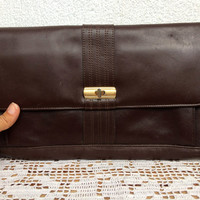 Genuine Leather Bag, Chocolate Brown Envelope Clutch, Classic 80s Clutch Wallet, Real Leather Slim Purse, Small Messenger, Simple Satchel