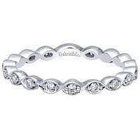 """Gabriel 14K """"Marquise"""" Shaped Stackable Ring Featuring Round Cut Diamonds"""