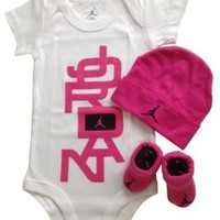 Nike Jordan Baby Bodysuit, Booties and Cap Layette Set with Cellphone Anti-dust Plug