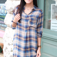 Half Button Plaid Flannel Tunic {Blue Mix}