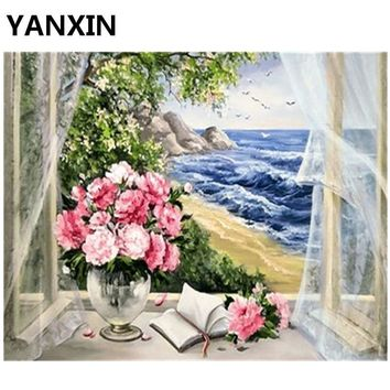YANXIN DIY Frame Painting By Numbers Oil Paint Wall Art Pictures Decor For Home Decoration