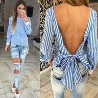 Striped Irregular Hollow Out Sexy Backless Back Cross Blouse