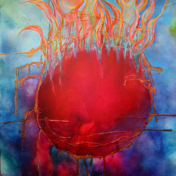 Renewing Fire Abstract Painting on Canvas by Artist, 36 x 24 Colorful Original Acrylic Painting, Prophetic Art, Sphere of Flames