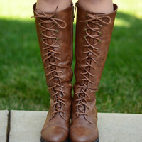 Laced Up Boots - Tan